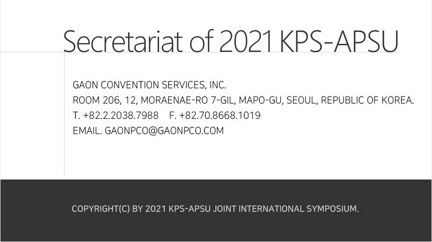 2021 KPS-APSU Joint International Symposium
